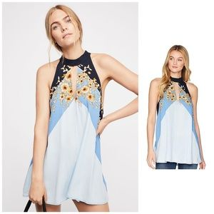 NWT, Free People, Beat Of My Heart Tunic in Blue